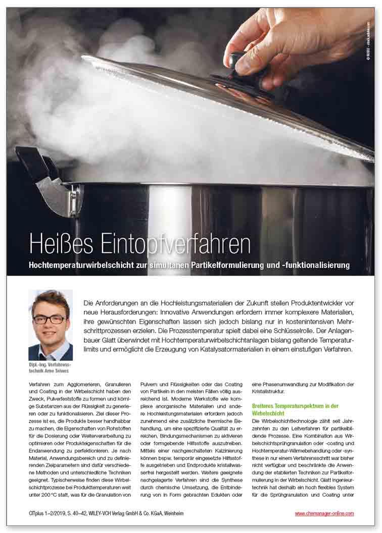 Heißes Eintopfverfahren Hochtemperaturwirbelschicht zur simultanen Partikelformulierung und -funktionalisierung