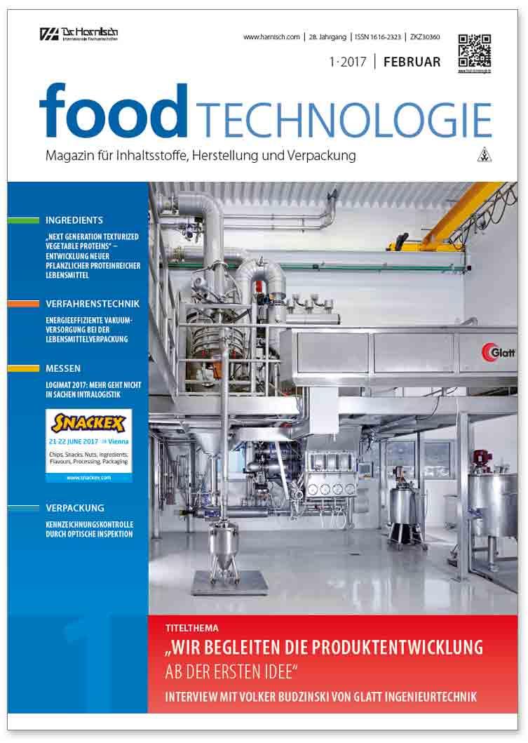Glatt Fachbeitrag zum Thema 'Wir begleiten die Produktentwicklung ab der ersten Idee', veröffentlicht im Fachmagazin 'food Technologie', Ausgabe 1/2017, Dr. Harnisch Verlagsgesellschaft mbH