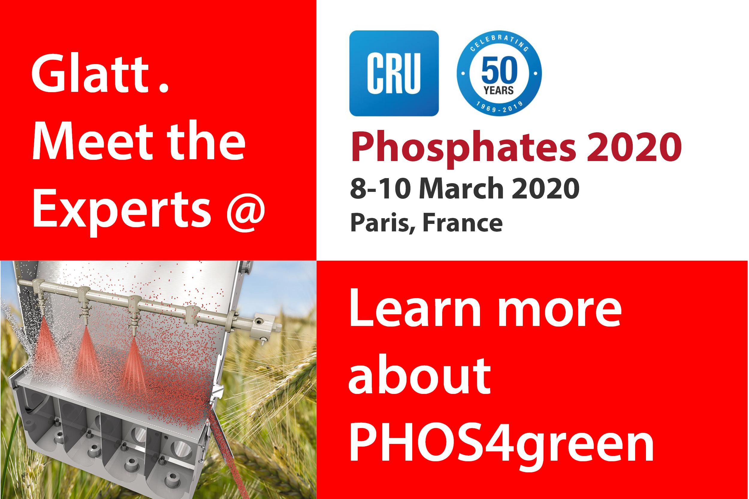 Glatt. Meet the Experts @ Phosphates 2020, 08-10 March in Paris, France