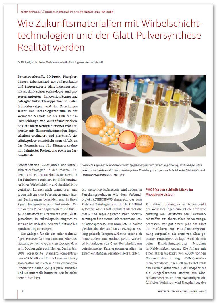Glatt_FA_071_Wie Zukunftsmaterialien mit Wirbelschichttechnologien und der Glatt Pulversynthese Realitaet werden_MM_2020-02