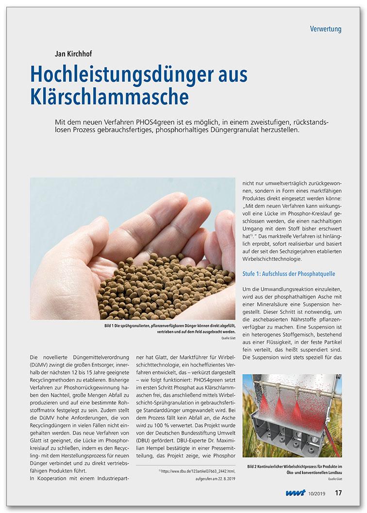 Glatt_FA_079_PHOS4green_Hochleistungsduenger aus Klaerschlammasche_WWT_2019_10