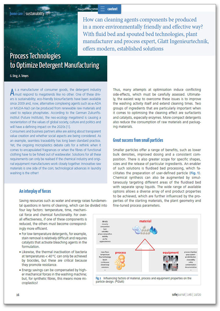 Technical article by Glatt 'Process Technologies to Optimize Detergent Manufacturing'_en_SOFW_2020-10