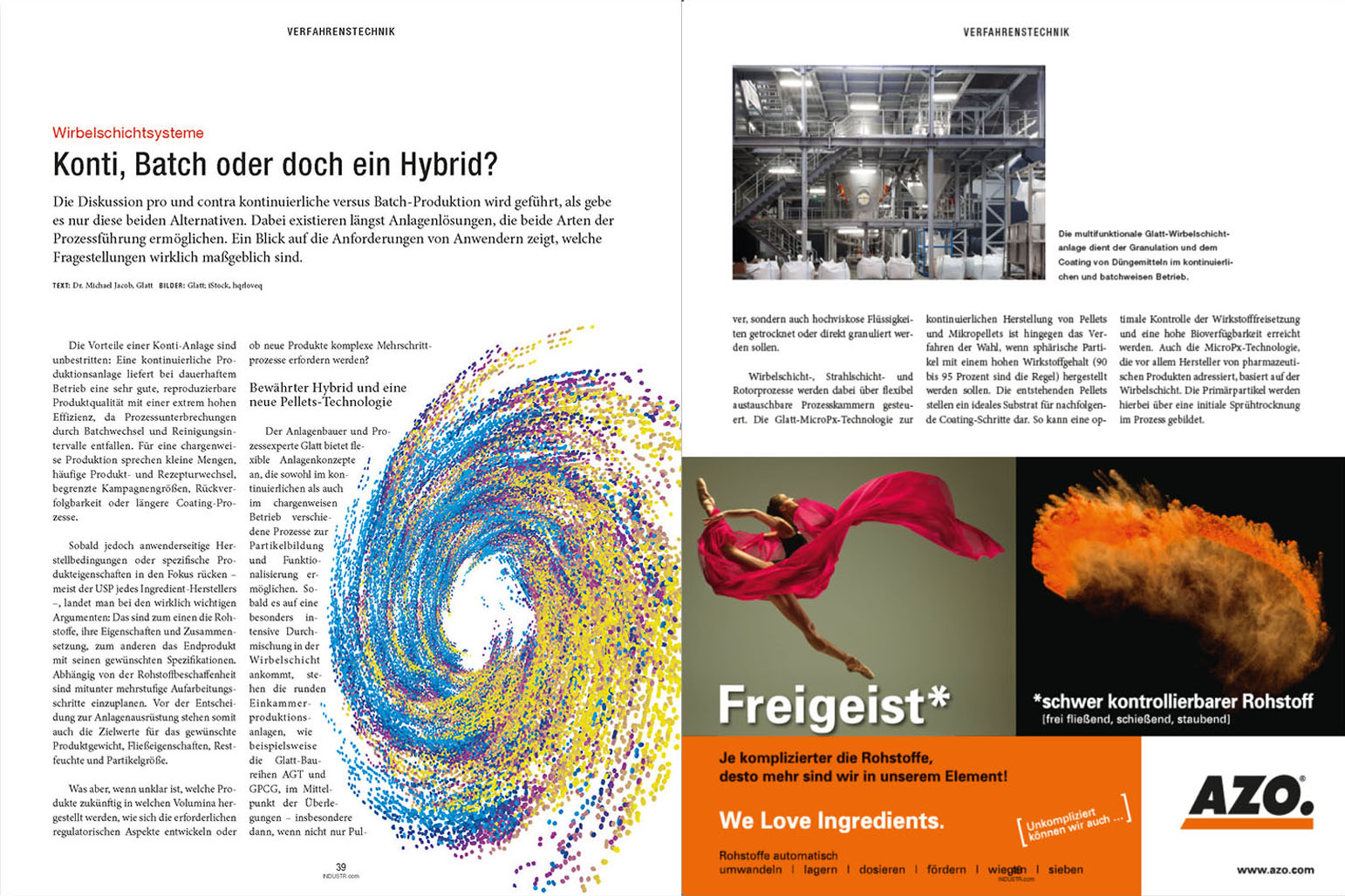 Glatt technical article on 'Fluid bed systems: continuous, batch or a hybrid?', published in the magazine 'P&A', issue June/2021, publish-industry Verlag GmbH, Germany