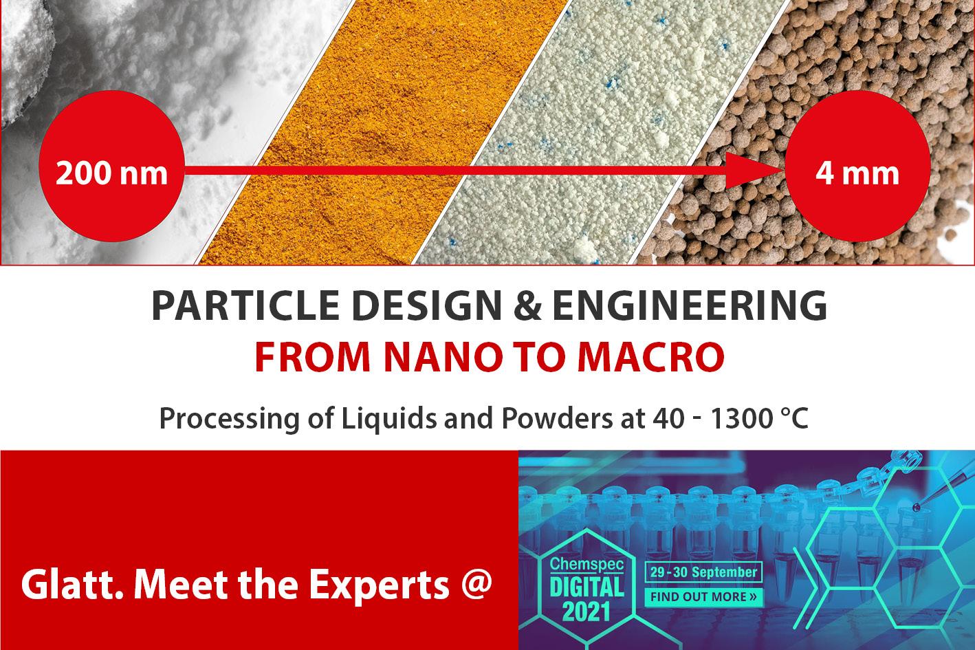 Meet the Glatt experts at Chemspec DIGITAL 2021 on September 29 - 30, 2021