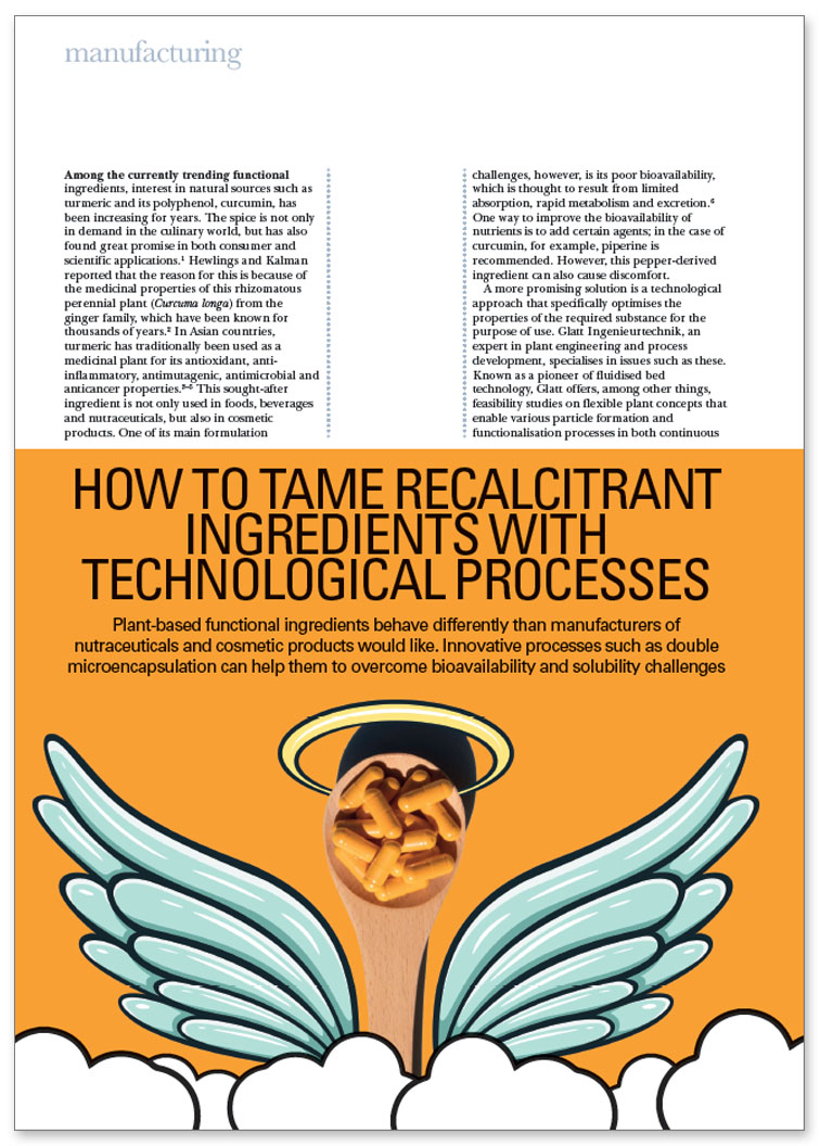 Glatt technical article on 'How to Tame Recalcitrant Ingredients with Technological Processes'